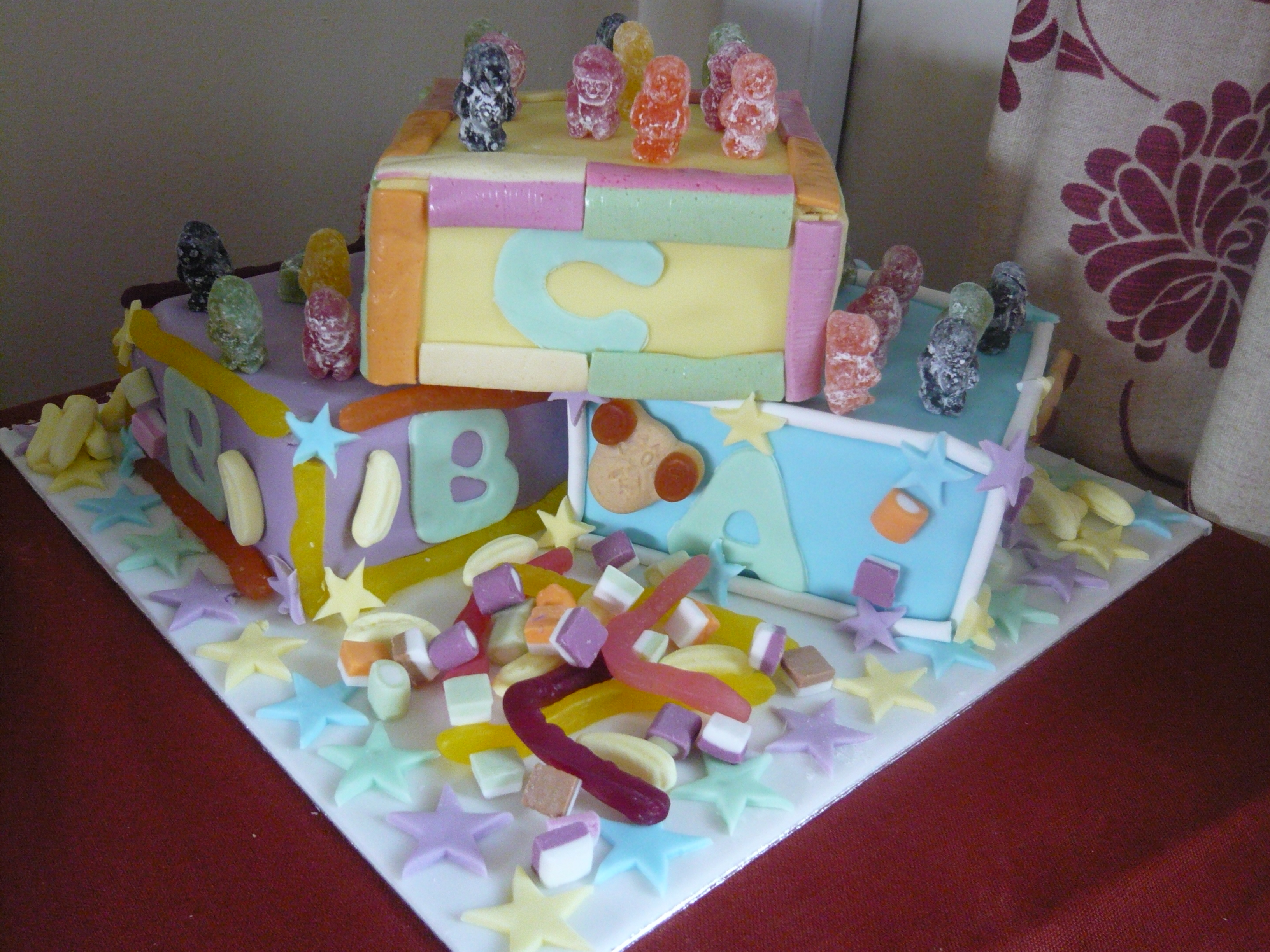 Baby Shower Party ABC Building Block Cake