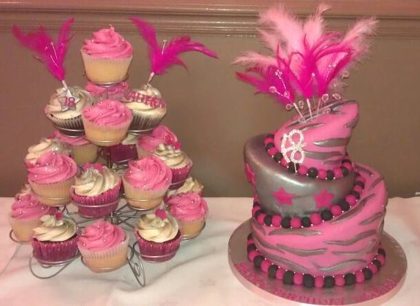 Incredible 3 Tiered Pink And Silver Wonky 18 Birthday Cake With Cupcakes And Funny Birthday Cards Online Elaedamsfinfo