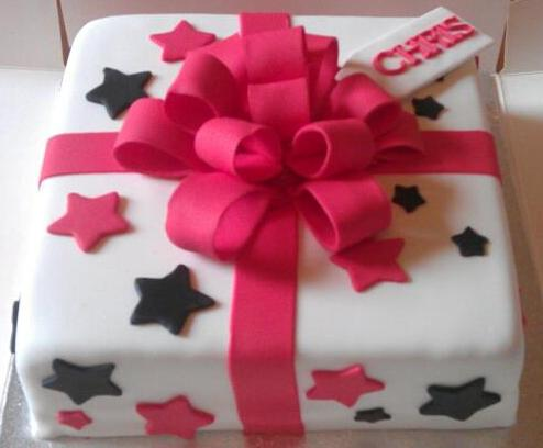 Strange Black And Pink Birthday Present Cake With Big Bow Hours Of Fun Funny Birthday Cards Online Drosicarndamsfinfo
