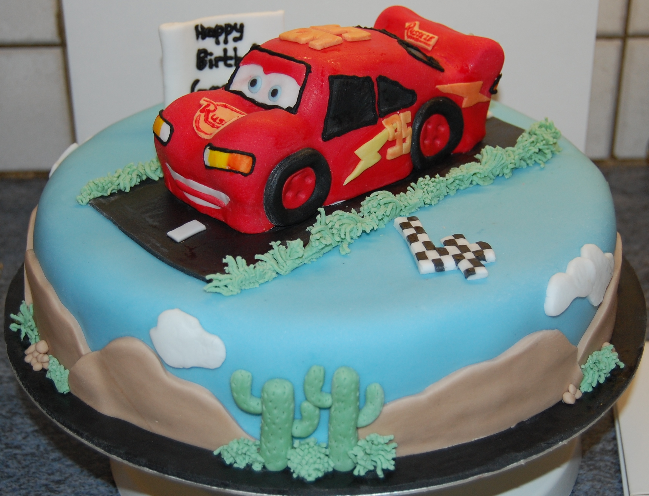 Hours of Fun Lightning McQueen Birthday cake for a special 4th