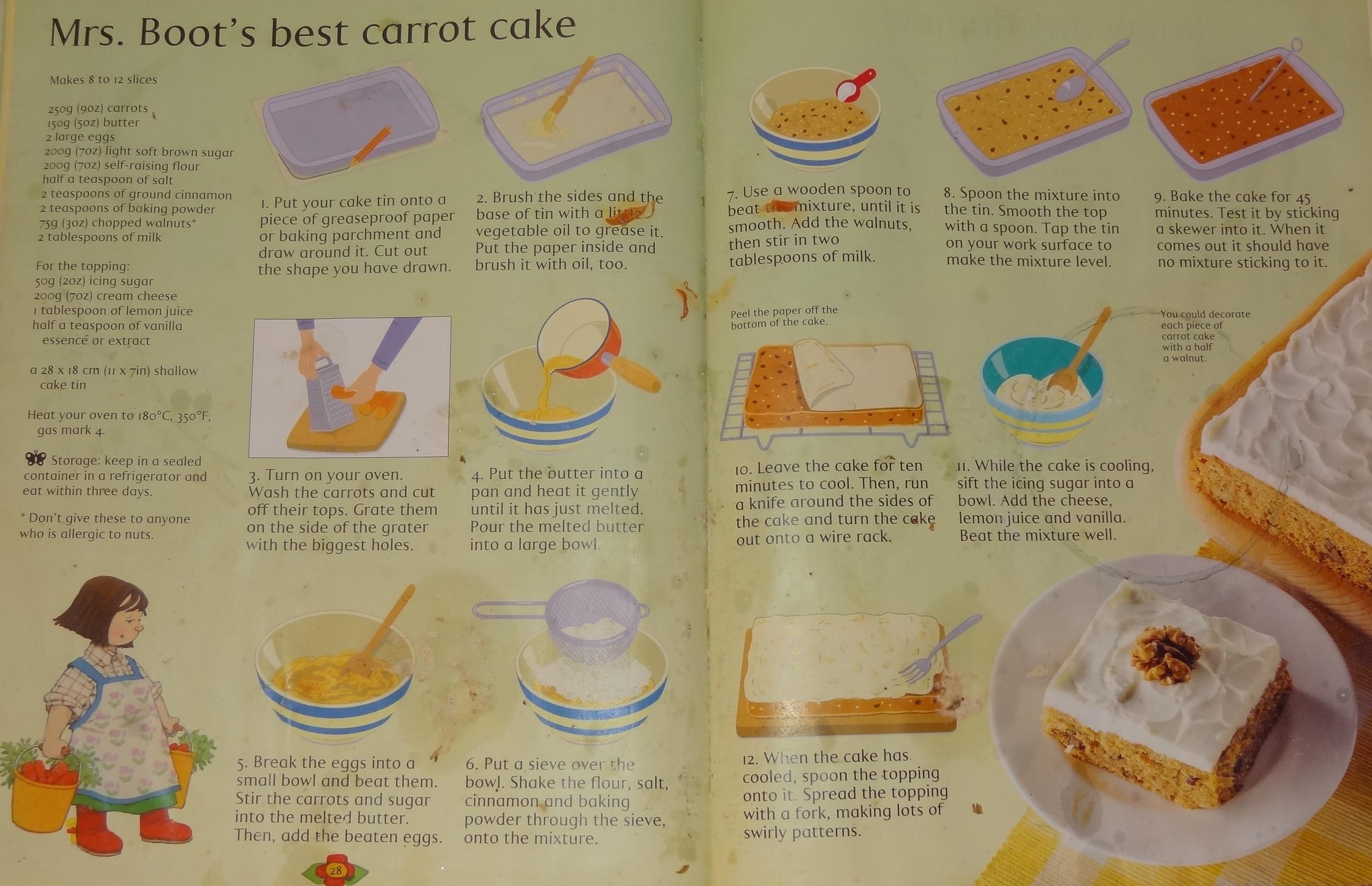 Usborne Beginners Cookbook Carrot Cake Recipe
