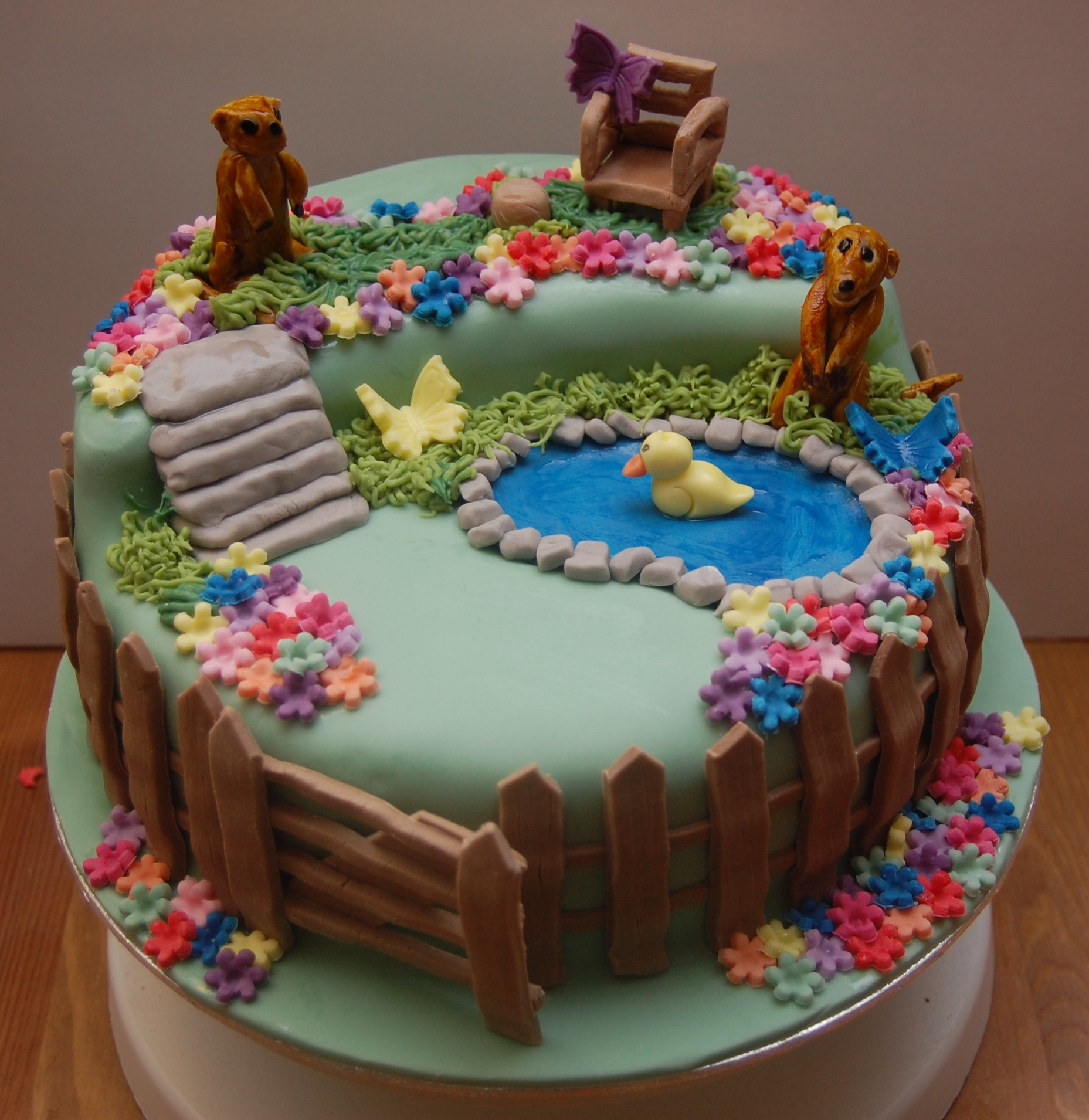 Meerkat garden scene birthday cake hours of fun for Gardening 80th birthday cake
