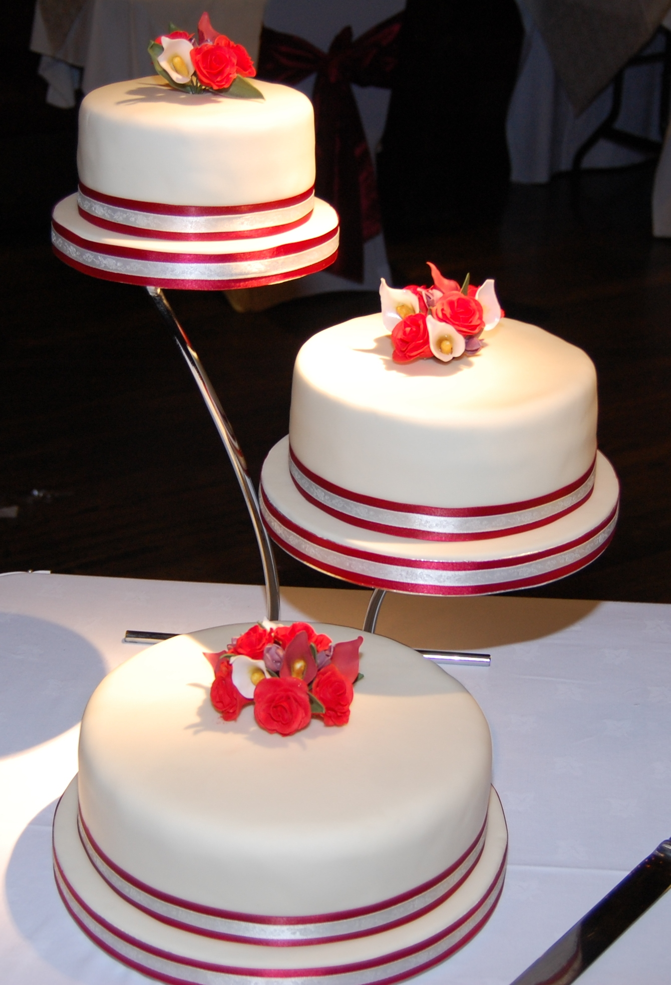 3 Tier Wedding Cake With Roses And Calla Lilies Hours Of Fun - 3 Tier Wedding Cakes