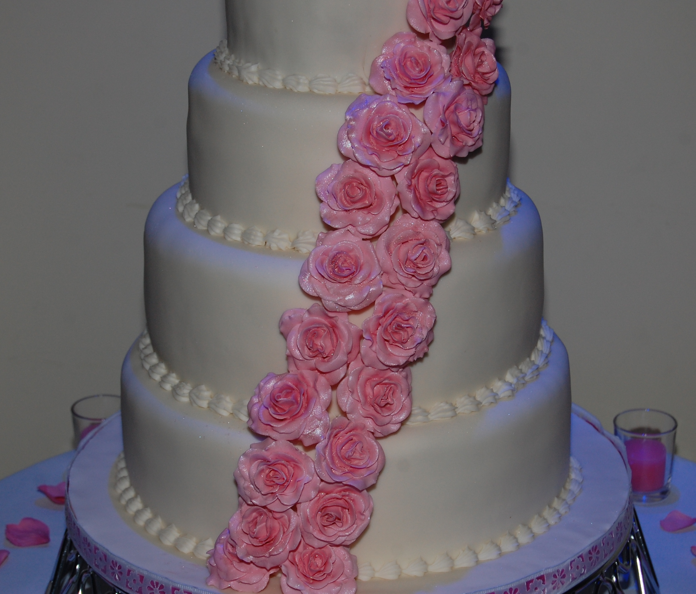 Elegant 4 Tier Wedding Cake With Dusty Pink Roses Hours Of Fun - Dusty Pink Wedding Cake