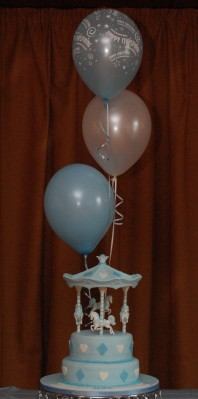 Balloons and banners decorated the room