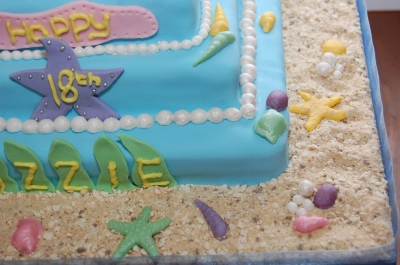 Little mermaid 2 tier 18th birthday cake Ariel and flounder (1)