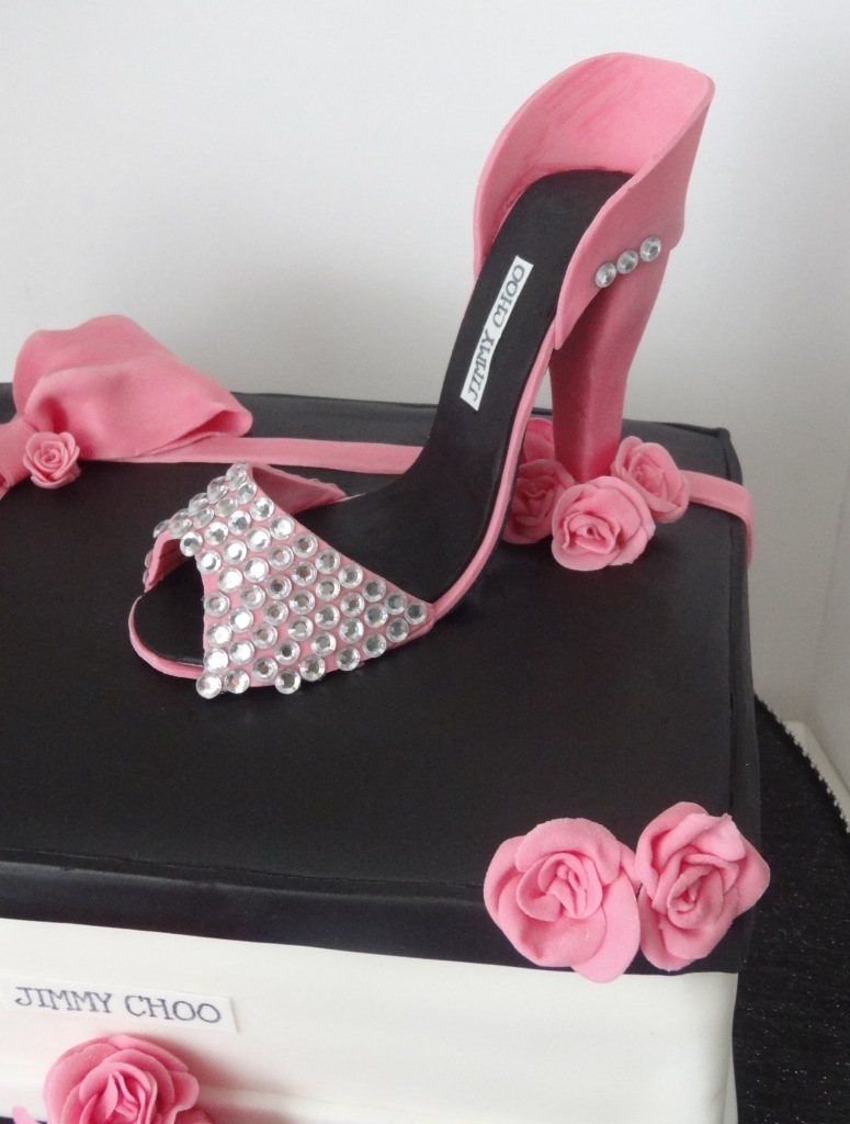 Pink and black Jimmy Choo shoe box and high heel birthday cake (1)