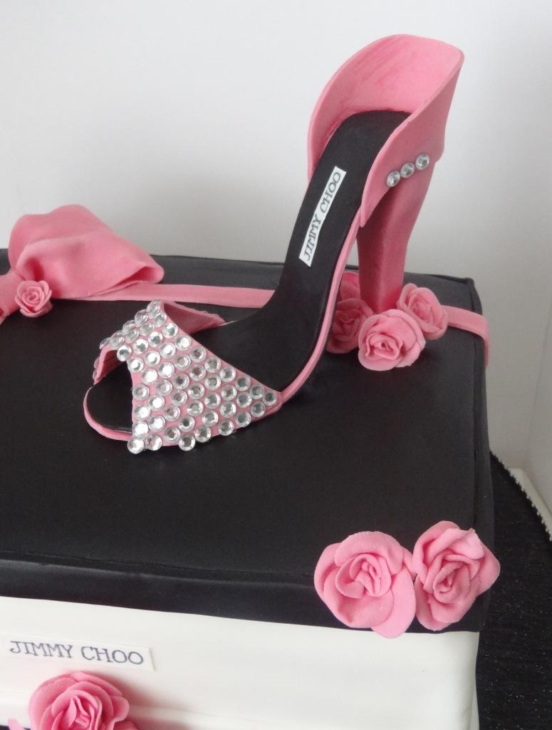 Pink and black Jimmy Choo shoe box and high heel birthday cake (1)