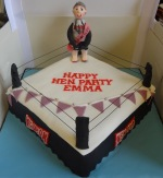 Hen do cake, boxing ring with Bride to be