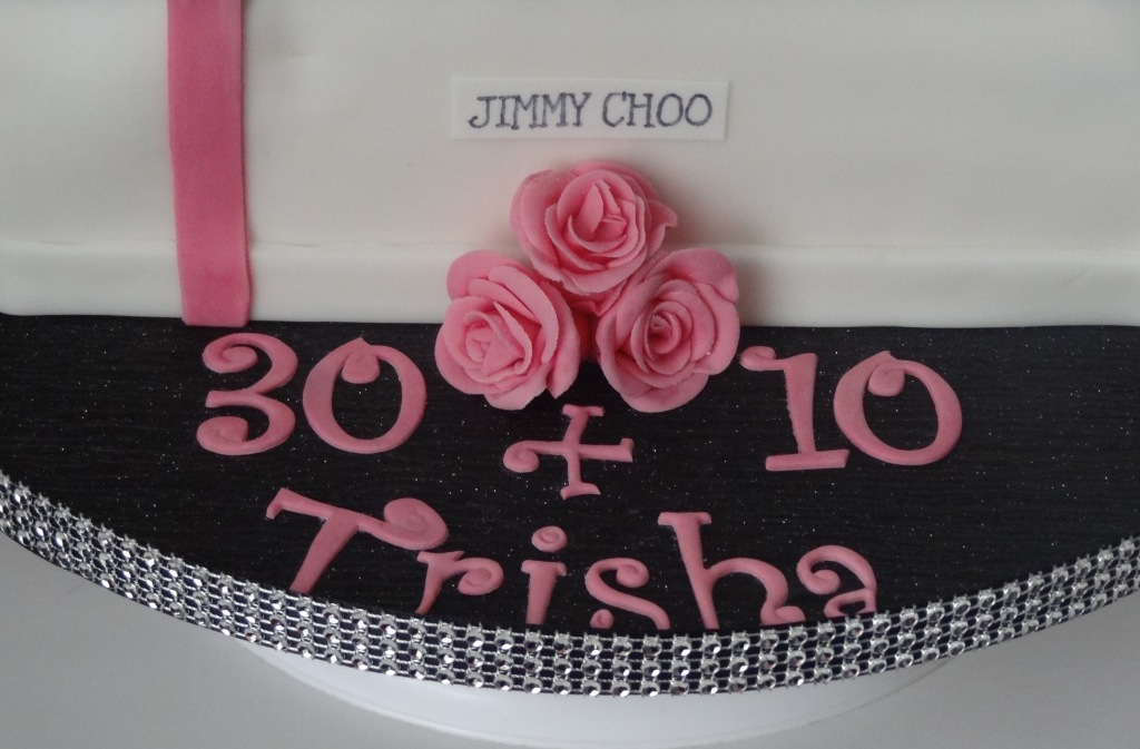 Pink and black Jimmy Choo shoe box and high heel birthday cake (3)