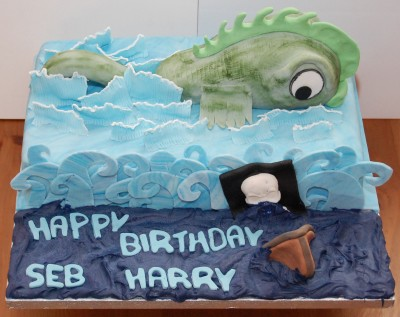 Sea monster cake