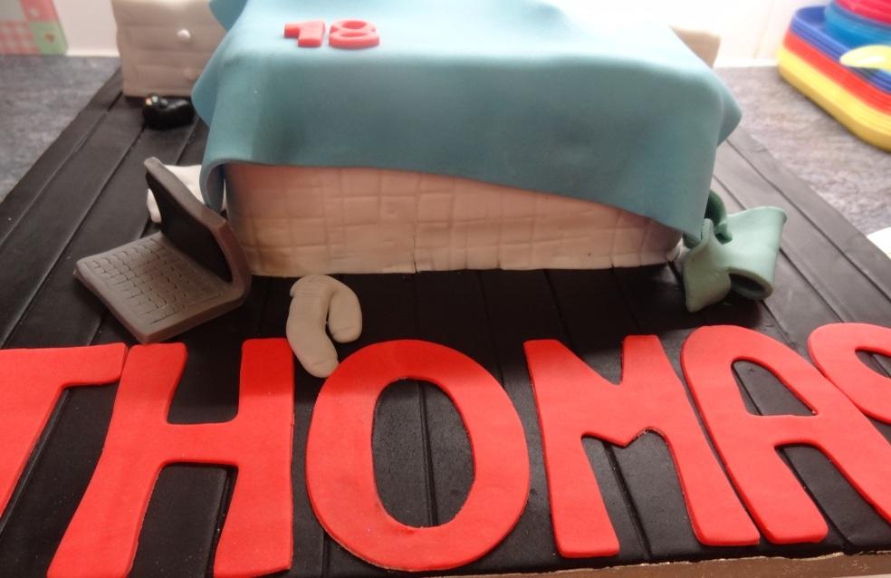 Close up of 18th birthday bedroom scene cake3