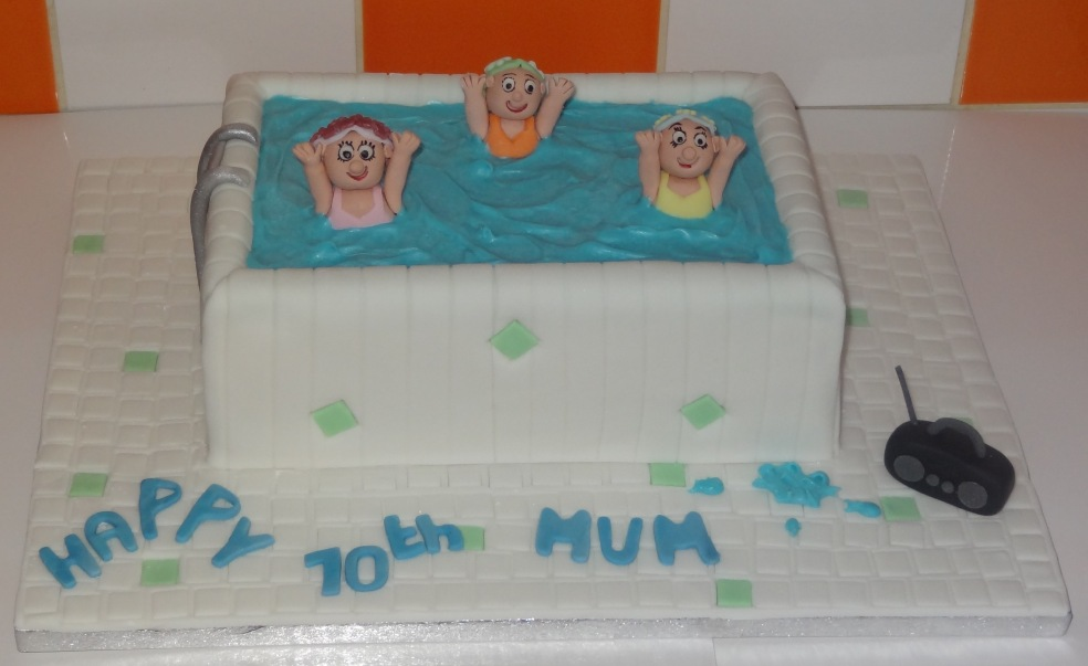 Aqua aerobics 70th birthday cake (1)