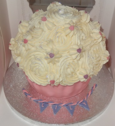 Giant cupcake with bunting
