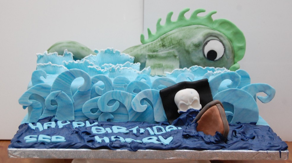 Seb and Harry sea monster birthday cake (2)